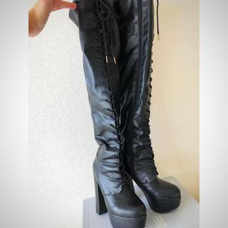 エスペランサ(ESPERANZA)のエスペランサ 編み上げ厚底ロングブーツ 22.5(ブーツ)