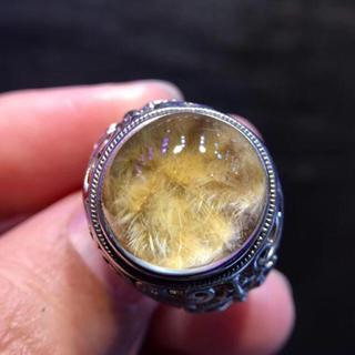 【天然】ゴールドタイチンルチルクォーツ リング s925 10.9x10.7mm(リング(指輪))