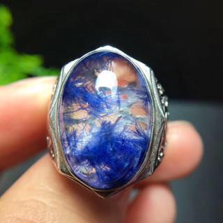【天然】ブルールチル デュモルチエライト リング s925 19x13mm(リング(指輪))