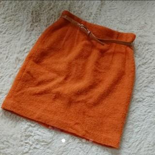 オレンジ色もこもこタイトスカート(ひざ丈スカート)