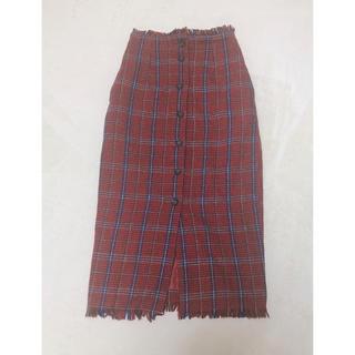 ダブルクローゼット(w closet)のダブルクローゼット⑅◡̈*赤チェックスカート(ロングスカート)