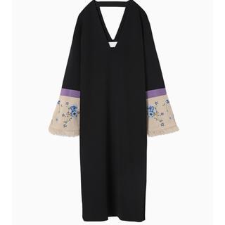 mame - mame 17SS 袖刺繍ワンピース ロング ドレス クロ 美品