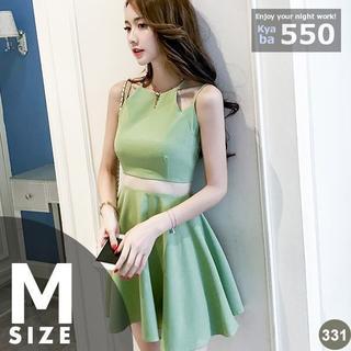 キャバドレス 331G 緑 Aライン ミニ ノースリーブ 肩に特徴 M(ミニドレス)
