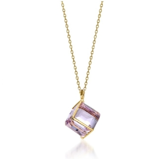 STAR JEWELRY - スタージュエリー K10 ネックレス CUBE IN MAUVE