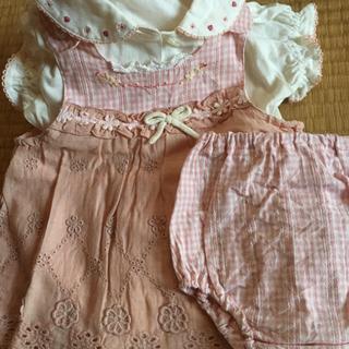 スーリー(Souris)の女の子 ドレス&カーディガン&おしゃれシューズ 70〜80 4点セット(ワンピース)