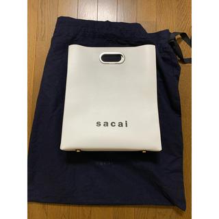 サカイ(sacai)の美品 sacai 19SS ロゴ レザー ハンドバッグ トート サカイ クラッチ(ハンドバッグ)