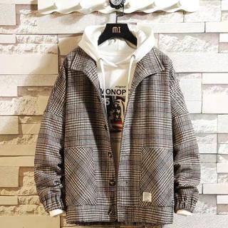 ビッグサイズ チェック シャツ ジャケット 茶色 ブラウン メンズ 韓国