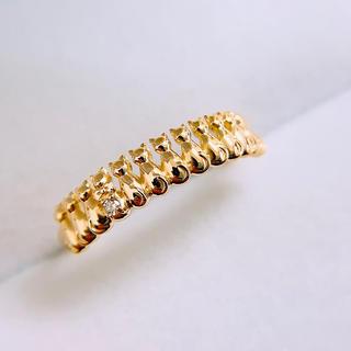 K18 天然ダイヤモンド 猫 リング(リング(指輪))