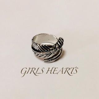 送料無料14号クロムシルバー羽根フェザーリング指輪クロムハーツゴローズ好きに(リング(指輪))