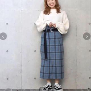 ダブルクローゼット(w closet)のw closet ダブルクローゼット チェックロングスカート 美品(ロングスカート)