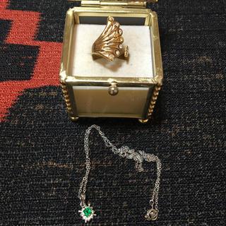 ヴィンテージ お洒落なクジャクの羽の様なゴージャスリングとネックレスセット(リング(指輪))