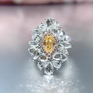 激希少Gia☆ファンシーイエローオレンジダイヤモンドの豪華指輪(リング(指輪))
