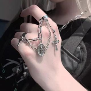 韓国ファッション クロス チェーンリング 指輪 十字架 メダイ