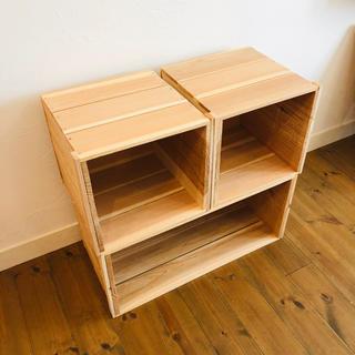 新品 「りんご箱 1箱」×「巾1/2  木箱  2箱 」/ 木箱 ボックス