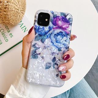 花柄シェル iPhoneケース 韓国 可愛い 指リングなしタイプ