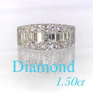 ★SALE★高品質ダイヤ 1.5カラット プラチナ製 バゲットダイヤリング(リング(指輪))