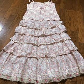 ピンクハウス  小花柄セットアップ 被せスカート タンクトップ