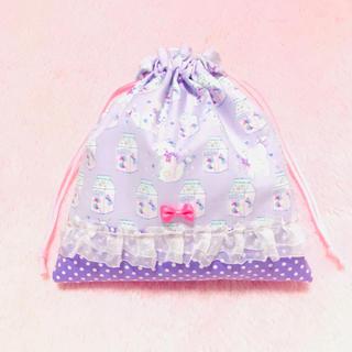 ハンドメイド  給食袋◆巾着◆キャンディ♡ねこ◆ラベンダー