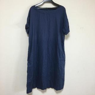 MUJI (無印良品) - 無印良品 紺色ワンピース Mサイズ 麻100%