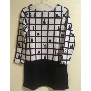 Design Tshirts Store graniph - グラニフ  秋冬用チュニックワンピース モノトーン格子柄