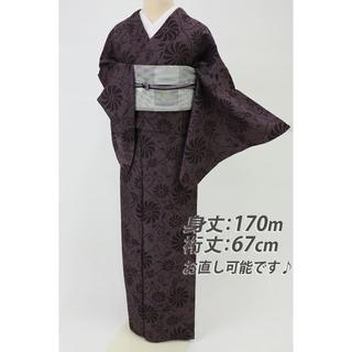 《長尺お召■モダン幾何学格子に菊唐草模様小紋■黒×紫◆袷正絹着物◆KP1-3》(着物)