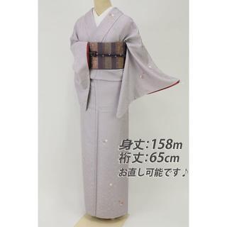 《上品■小さな桜のブーケ飛び柄小紋■藤色牡丹唐草地紋◆袷正絹着物◆KP1-4》(着物)