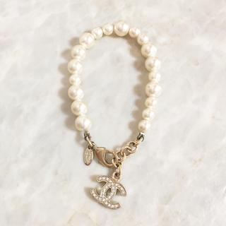 CHANEL - 正規品 シャネル ブレスレット パール ココマーク 金 ラインストーン 石 真珠