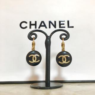 CHANEL - 正規品 シャネル ピアス フープ ゴールド ココマーク 丸 ロゴ 金 ブラック