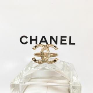 CHANEL - 正規品 シャネル 指輪 ゴールド ココマーク ラインストーン 石 ロゴ リング