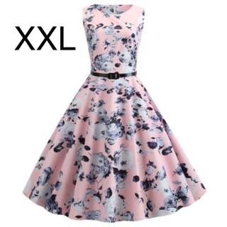 新品☆ベルト付き♪花柄♪ふんわり綺麗ワンピース ピンク XXL(ひざ丈ワンピース)