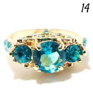 G4 リング 14号 人工石 ブルートパーズ ゴールド ゴージャス(リング(指輪))