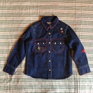 エーアーベー(eaB)の120 eaB かわいい刺繍ステッチのデニムシャツ(ブラウス)