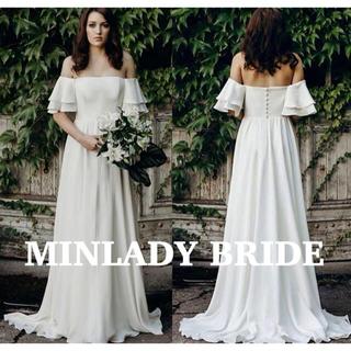 【新品】フリル オフショルダー シンプル ウェディングドレス #ma356
