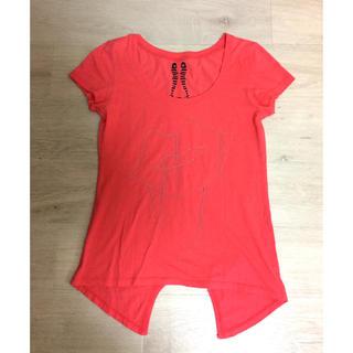 スパイラルガール(SPIRAL GIRL)のspiral girl アシメ Tシャツ 赤 レッド 唇 リップ柄(Tシャツ(半袖/袖なし))