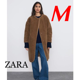ZARA - 新品 完売品 ZARA M ノーカラー ボアコート