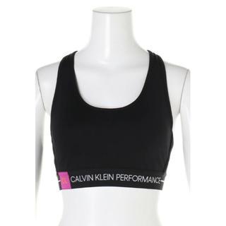 カルバンクライン(Calvin Klein)のCALVIN KLEIN スポーツブラ レーサーバック  ブラトップ 黒M ロゴ(ブラ)