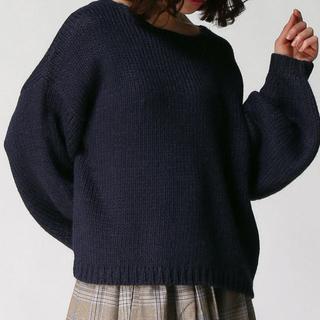 スタディオクリップ(STUDIO CLIP)の3ゲージボリューム袖プルオーバー ニット ネイビー 秋冬 かわいい 男ウケ(ニット/セーター)