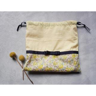 ファミリア(familiar)の【handmade】巾着袋 コップ袋 リバティ×リボン(バッグ/レッスンバッグ)