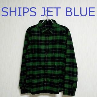 SHIPS - SHIPS JET BLUE/Mサイズ/日本製/ネルシャツ/緑/グリーン/黒