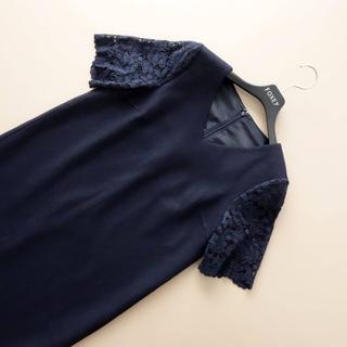 ANAYI - ■アナイ■ 34 濃紺 袖透かしレース チュニックワンピース