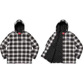 Supreme - supreme Quilted Hooded Plaid Shirt Mサイズ