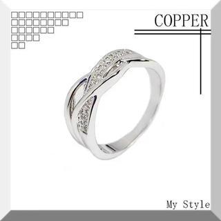 ★新品★ LR004 レディース リング 指輪 コッパー ジルコニア 銀色(リング(指輪))