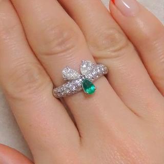 プラチナ製 エメラルド&ダイヤのリング オーダー品です   (リング(指輪))