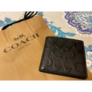 COACH - 《新品》COACH コーチ 2つ折り財布 シグネチャーブラック