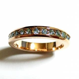 14号 フルエタニティ スワロフスキー アクアマリン ピンクゴールドリング(リング(指輪))