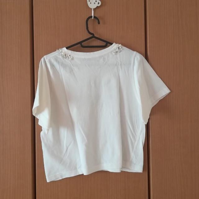 mysty woman(ミスティウーマン)のビジュー付きロゴTシャツ レディースのトップス(Tシャツ(半袖/袖なし))の商品写真