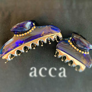 acca - ニューコラーナ ネイビーブルー×ゴールド マーブル 中小クリップ セット