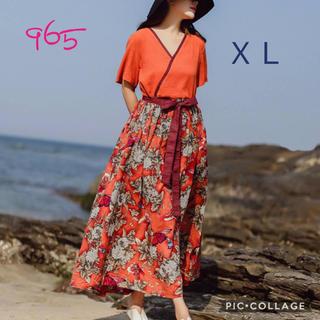 965XL 新品 綿 ロングワンピース マキシ ゆったり オレンジ カシュクール(ロングワンピース/マキシワンピース)
