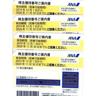 ANA株主優待券 最新版 4枚1組 ANAグループ優待券付