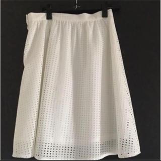 グローブ(grove)のglobe 白スカート M(ひざ丈スカート)